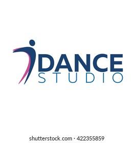 Dance studio logo. Dancer logotype. Vector minimalistic