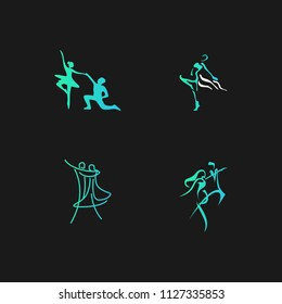 Dance studio logo design vector template. Dancing class abstract human figure icon