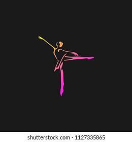 Dance studio logo design vector template. Dancing class abstract human figure icon
