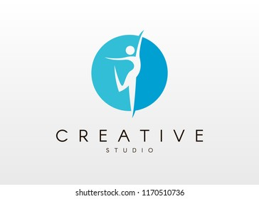 Dance studio logo design. Vector body shape logo. Dance icon concept.