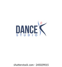 Dance studio logo design vector template. Abstract human figure icon