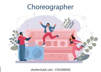 Dance teacher or choreographer in dance studio. Dancing courses for children and adults. Modern street dance. Vector Illustration
