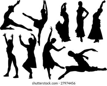 dance women silhouette vector