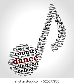 Dance. Word cloud, musical notes, gradient gray background. Variety of music.