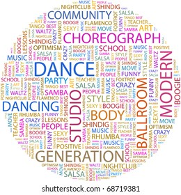 DANCE. Word collage on white background. Illustration with different association terms.
