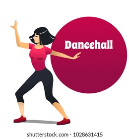 Dancehall Dancer. Dancing Girl in Cartoon Style for Fliers Posters Banners Prints of Dance School and Studio. Vector Illustration