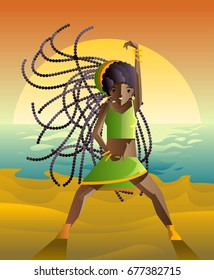 dancehall samba brazilian dancer in the beach