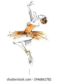 Dancer. A ballerina in an orange dress trains in the gym. Ballet. Artist. Classical dances. Prima ballerina