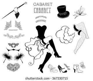 Dancer cabaret  set. Cabaret french cat. Burlesque  hand drawn set. Cancan dress and feather with boots. Cabaret font. Retro set