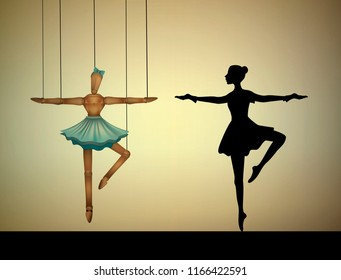 dancer concept, ballerina marionette to compare with real person, vector