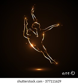 Dancer is dancing gracefully. Silhouette of a ballerina in a jump in traffic. Theatrical performance. The abstract image of a ballerina with gold contour with light flares on dark, black background.
