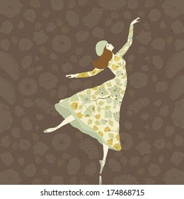 Dancer in floral dress on floral background