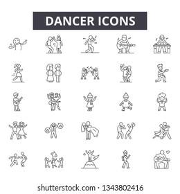 Dancer line icons for web and mobile design. Editable stroke signs. Dancer  outline concept illustrations