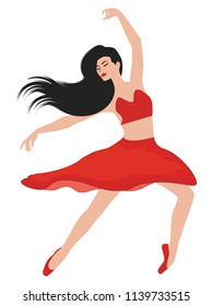 Dancer, modern style, with dark long hair, in red suit -isolated on white background - art vector.
