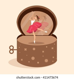 Dancer in the music box. Vector isolated illustration. Cartoon character.