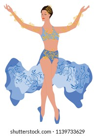 Dancer in the original blue suit with decorations - isolated on white background - art vector.
