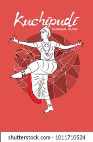 Dancer performing Indian dance. Vector illustration of Indian classical dance kuchipudi.