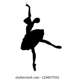 Dancer silhouette, ballerina isolated on the white background. Vector illustration.