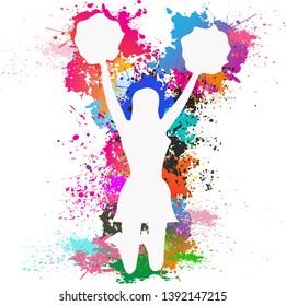 Dancer silhouette, Cheerleader, Dancing colorful girl splash paint dance on white background, Vector illustration.
