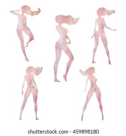 Dancer silhouette vector set. Imitation of a watercolor texture in gentle pink tones.