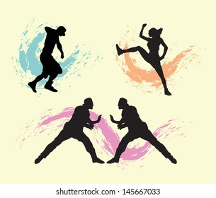 Dancer Silhouettes with Splatter. Easy to use or change color. Good use for your symbol, sticker design, or any design you want.