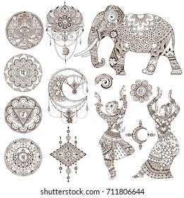 Dancers, elephant, mandalas, chakras, hamsa painted in the mehendi style. Set of elements on white background.