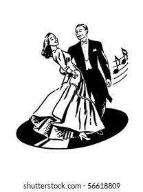 Dancers On A Record - Retro Clip Art