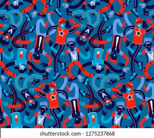 dancers, seamless pattern, collage, friendship day