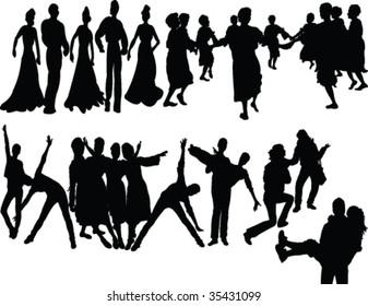 dancers silhouette - vector