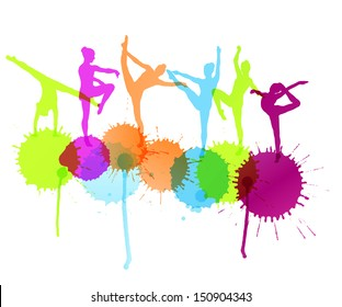 Dancers silhouette vector abstract background concept with ink splashes