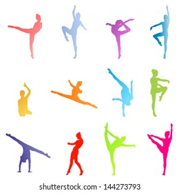 Dancers silhouette vector background set