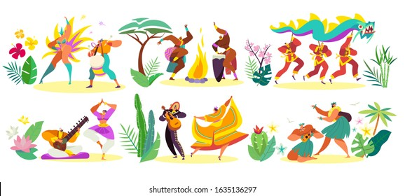 Dancers in traditional costumes of different cultures, vector illustration. People dancing, man and woman in ethnic clothes, holiday celebration festival in different countries. National dance set