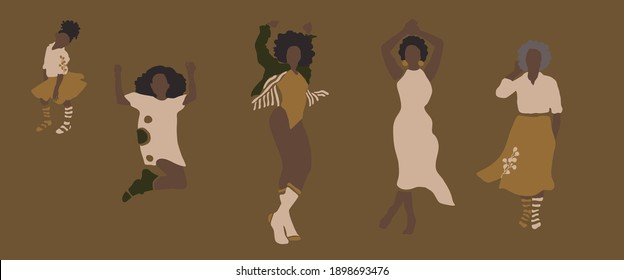 Dancing african american women of different ages with botanical elements. Child, young girl, young, elderly woman. Trendy minimalistic feminist vector illustration of black women. Ladies silhouettes.