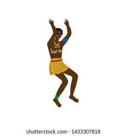 Dancing African Man, Male Aboriginal Dressed in Bright Traditional Ethnic Clothing Vector Illustration