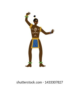 Dancing African Man, Male Aboriginal in Bright Traditional Tribal Clothing Vector Illustration