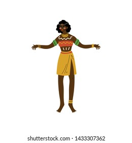 Dancing African Woman, Aboriginal Girl Dressed in Bright Traditional Tribal Clothing and Ethnic Jewelry Vector Illustration