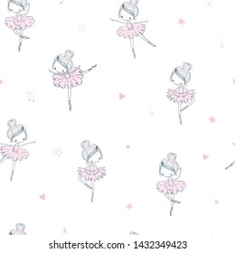Dancing ballerina childish seamless pattern. Simple linear vector surface design for girls. Use for print, wallpaper, fashion kids wear