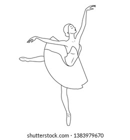 Dancing ballerina on theater stage. Classic performance show. Classic Russian ballet logo. Lined vector icon.