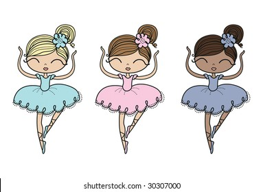 dancing ballerinas. It's easy to change the color on these vector illustrations to meet your needs.