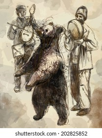 Dancing bear and group of gypsy musicians. Hand drawn illustration, vector.
