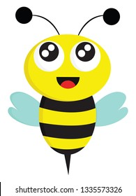 A Dancing Bee in yellow and black with sky-blue wings, vector, color drawing or illustration.