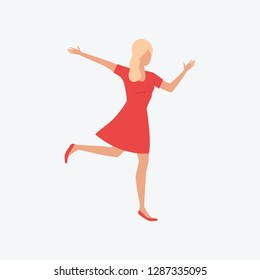 Dancing blondie girl. Red dress, fun, party. Can be used for topics like Saint Valentines Day, festival, celebration