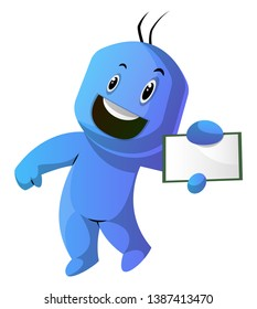 Dancing blue cartoon caracter with a notepad illustration vector on white background