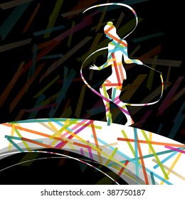 Dancing carnival woman with ribbon silhouette in abstract circus color background vector illustration