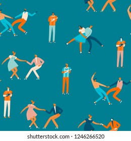 Dancing cartoon characters of people in 50s retro style seamless pattern in vector. Cartoon romantic characters activity illustration.
