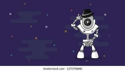 Dancing cartoon robot character. Robotic Moon walk dance. Front view with copy space.