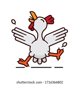 Dancing chicken isolated vector Illustration for Chickendance Day on May 14th. Cheerful cartoon hen character color symbol.