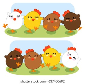 Dancing chicken in a row (set of two kawaii illustrations)