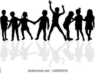 Dancing children silhouettes.