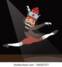 Dancing Christmas nutcracker cartoon illustration. Wooden soldier toy gift from the ballet. EPS 10 vector illustration.